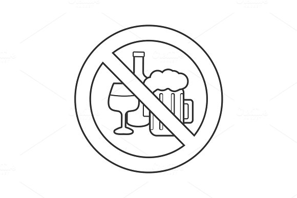 Forbidden Sign With Alcohol Drinks Linear Icon