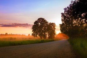 Lovely sunset road