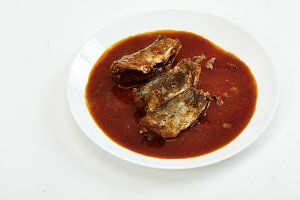 Mackerel in Tomato Sauce on white