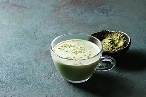 Cup of matcha latte