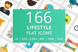 166 Lifestyle Flat Icons
