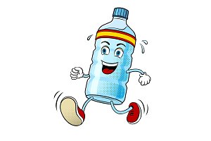 Run bottle of water pop art vector
