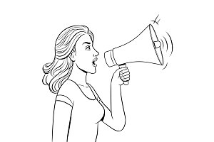 Woman with megaphone coloring book vector