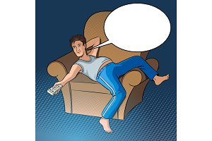 Lazy guy watching TV pop art style vector