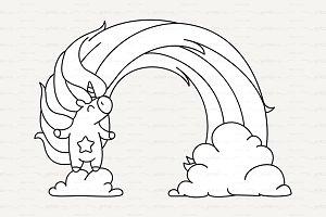 ♡ vector Cute outline unicorn