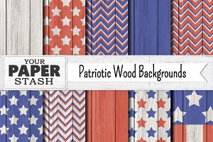 Patriotic Digital Paper Wood Texture