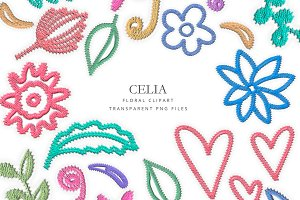 Embroidered flowers clipart