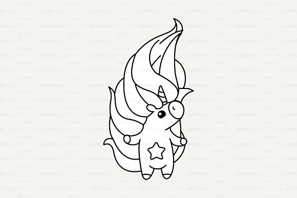 Vector Cute Outline Unicorn