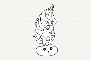 ♡ vector Cute outline unicorn