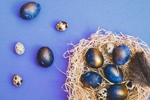 Ultra violet Easter eggs on vibrant violet background