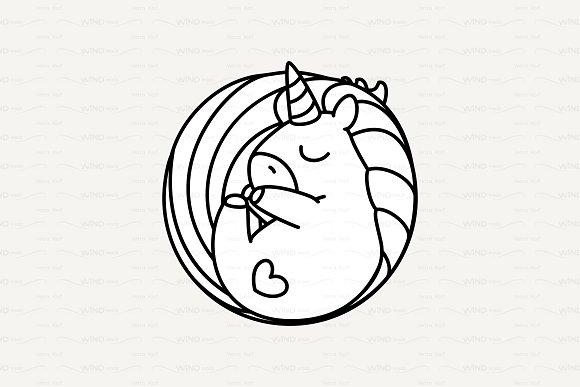 Vector Cute Outline Unicorn