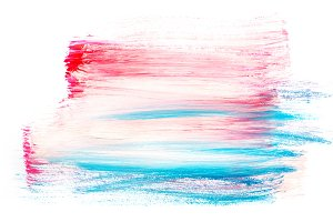 Abstract painting background with bright pink and blue paint strokes