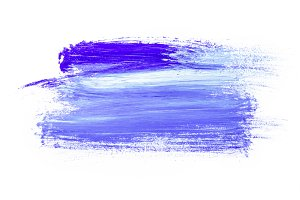 Abstract painting with violet brush strokes on white