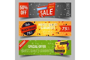 Black friday or retail sale, advertising tags