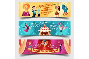 Set of isolated circus cards with clown, magician