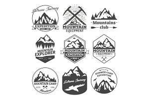 Landscape icons of mountains or hills badges