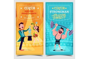 Strongman and snake charmer on circus banner