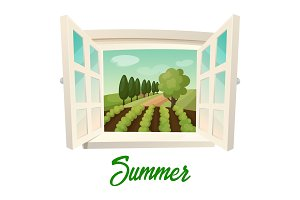 Window with view on summer farm or garden