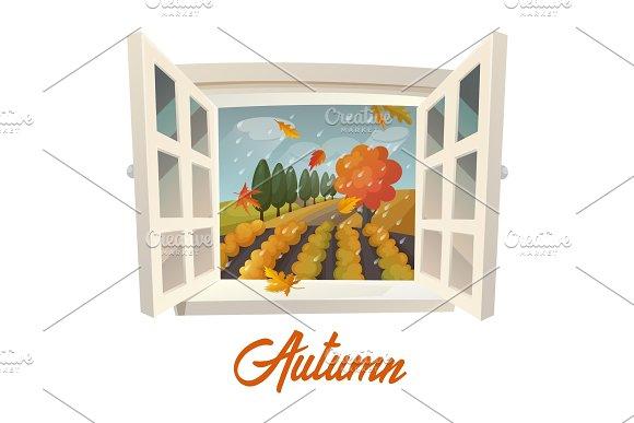Farm Or Garden During Rain At Autumn Season