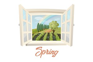 Outside view through window at spring field