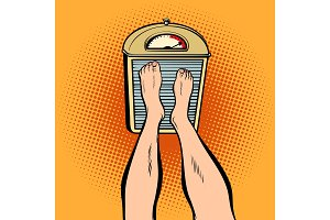 feet on the scales. diet and weight