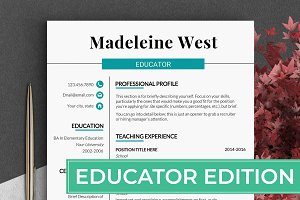 Educator RESUME Template Teacher CV