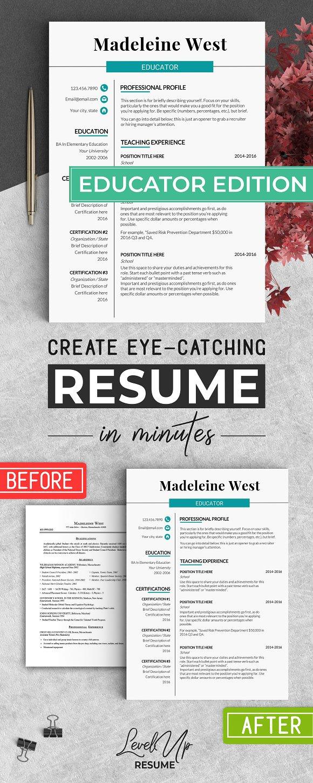 Educator RESUME Template Teacher CV