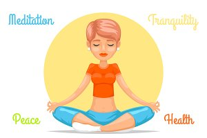 Meditation cute female girl yoga