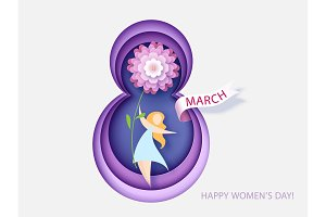 Card for 8 March womens day. Woman with flower