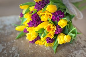 Yellow tulips and purple hyacinths