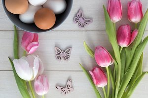 Easter Eggs, Tulips
