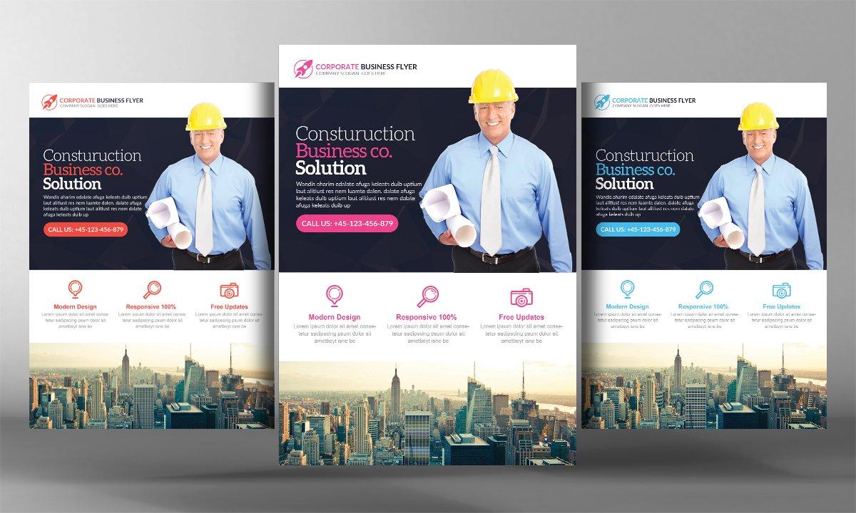 construction business flyer template flyer templates creative market