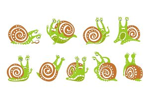 Cute snail character set, funny mollusk with different emotions colorful hand drawn vector Illustrations