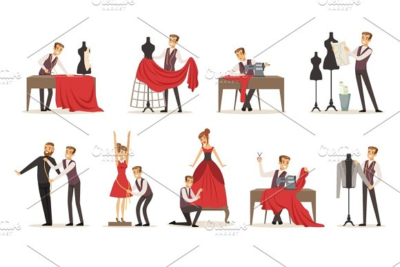 Dressmaker Set Male Designer Tailoring Measuring And Sewing For His Customers Vector Illustrations