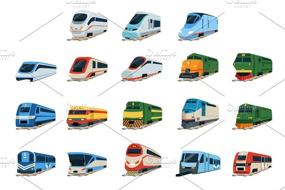 Retro And Modern Trains Locomotive Set Railway Carriage Vector Illustrations