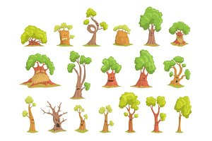 Cute tree characters set, funny humanized trees with different emotions colorful hand drawn vector Illustrations