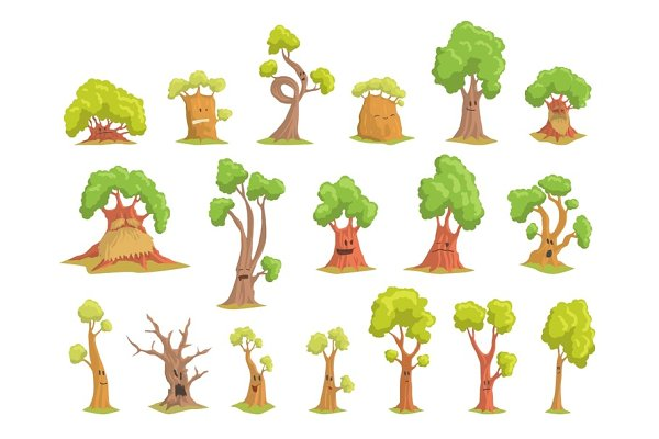 Cute Tree Characters Set Funny Humanized Trees With Different Emotions Colorful Hand Drawn Vector Illustrations Pre Designed Vector Graphics Creative Market Are you searching for cartoon tree png images or vector? cute tree characters set funny humanized trees with different emotions colorful hand drawn vector illustrations