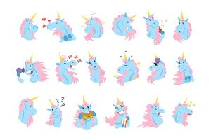 Funny unicorn characters with different emotions set colorful vector Illustrations