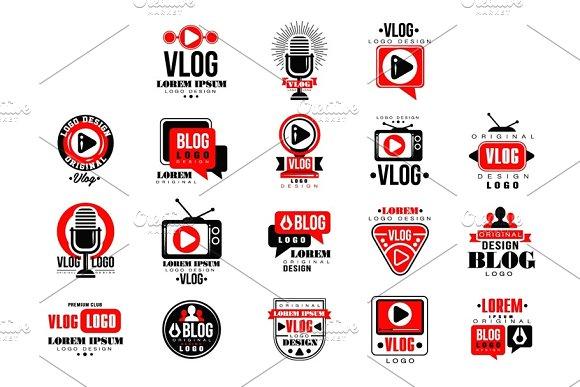 Vlog and blog original logo design set, video blogging or video channel badges vector Illustrations