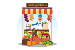 Market counter or stand with fruits and vegetables