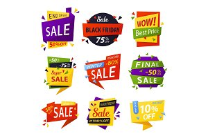 Black friday stickers or tags, labels for selling