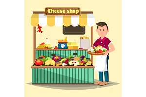 Showcase with man selling cheese products