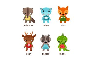 Set of isolated cartoon kid of animals
