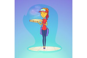 Girl or female worker with pizza in her hands