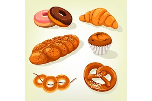 Multigrain bread and bakery cake, croissant
