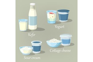 Yogurt and kefir, cottage cheese with sour cream