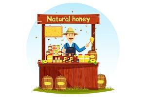 Agronom selling honey at market stall or showcase