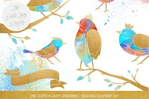 Fantasy Bird & Branch Clipart Set