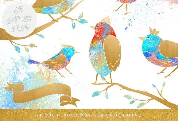 Fantasy Bird Branch Clipart Set
