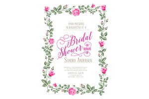 Bridal Shower invitation with flower